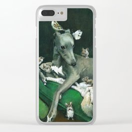 Whippet With Little Friends Clear iPhone Case