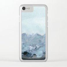 bluish grey landscape Clear iPhone Case