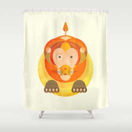 The rounded lion Shower Curtain