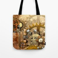 steampunk Tote Bags featuring steampunk by Ancello