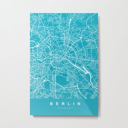 Berlin Map Germany | Blue II | More Colors, Review My Collections Metal Print