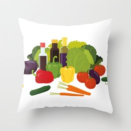 Fresh vegetables and food Throw Pillow