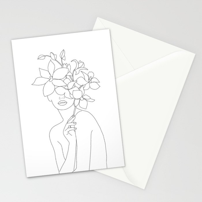Minimal Line Art Woman with Orchids Stationery Cards