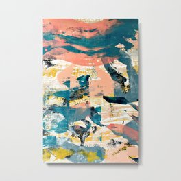 033.4: a vibrant abstract design in pink blue yellow an black Alyssa Hamilton Art Metal Print