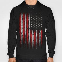 Red & white Grunge American flag Hoody