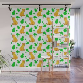 Little bears. Cute adorable funny baby bear cubs bold green retro dots white seamless pattern Wall Mural