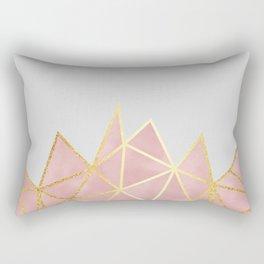 Pink & Gold Geometric Rectangular Pillow