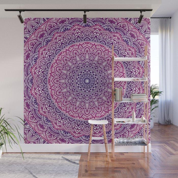 Zen Pink and Purple Mandala Wall Mural by mariaso Society6