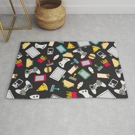 Gamer Video Game Controllers Fast Food Pattern Rug