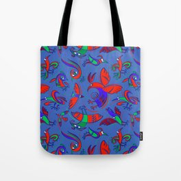 Pattern with Firebirds (on blue background) Tote Bag