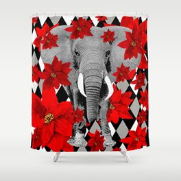 POINSETTIAS ELEPHANTS AND HARLEQUINS OH MY Shower Curtain