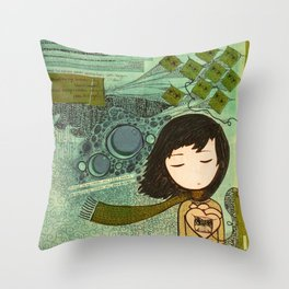 """""""Ghost figures of past, present, future haunting the heart"""" Throw Pillow"""