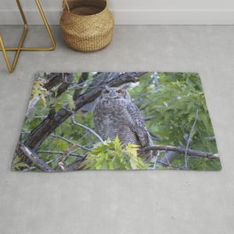 Watercolor Bird, Great Horned Owl 04, Longmont, Colorado Rug