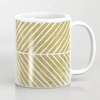 gold foil Mugs featuring Gold Foil Chevron by Berty Bob