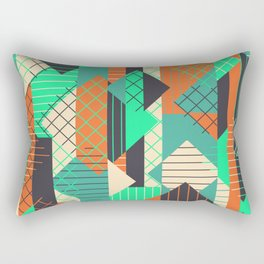 Squares Grids Stripes II (Modern Retro Color Palette) Rectangular Pillow
