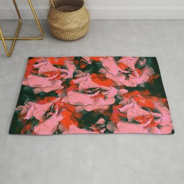 Full Punk Roses | Real Roses, Pink Roses, Red Roses, Colorful, Bright, Pressed Flowers, Vintage, Pun Rug