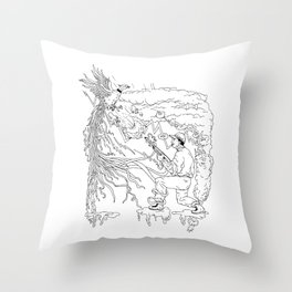 Hunter and Pheasant Ukiyo-e Throw Pillow