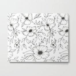 Flower Drawings Metal Print