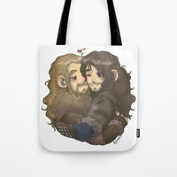 hug Tote Bags featuring Hug by ScottyTheCat