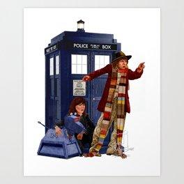4th Doctor, Sarah Jane, K-9 and the TARDIS Art Print
