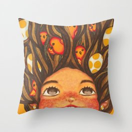 The girl with crow-tits Throw Pillow