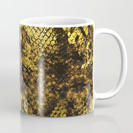 Faux gold snake skin texture on dark marble Coffee Mug