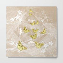 Gold butterflies on stormy iced-coffee flower mandala Metal Print