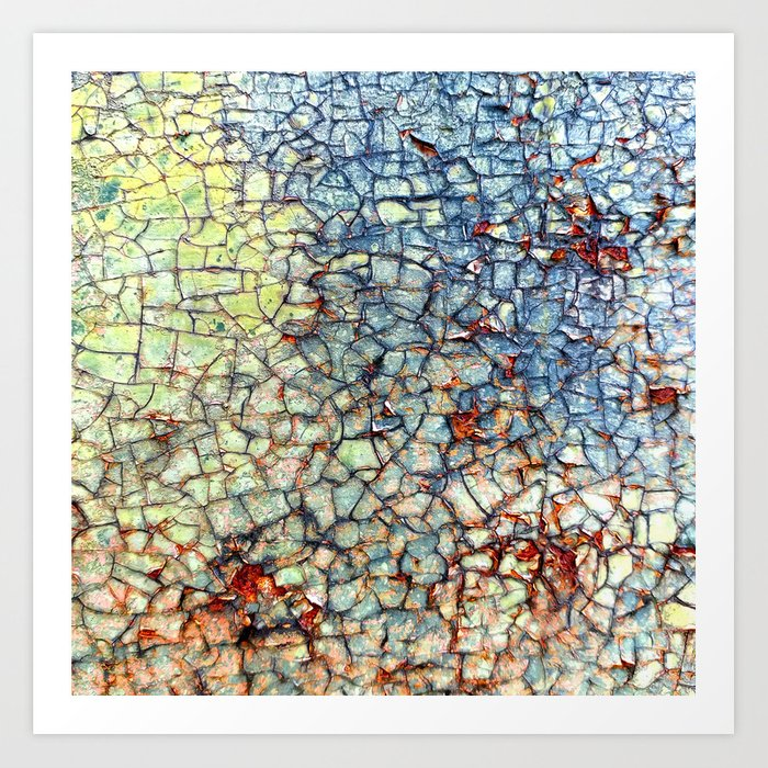 Colorful Abstract Paint And Rust Mosaic Art Print By Annaki