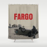 movie poster Shower Curtains featuring Fargo Movie Poster  by FunnyFaceArt