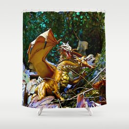 Golden Dragons Nest Shower Curtain