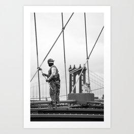Painting the Brooklyn Bridge Art Print