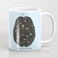video games Mugs featuring Your Brain On Video Games by Terry Fan