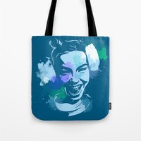 bjork Tote Bags featuring Bjork by BIG Colours