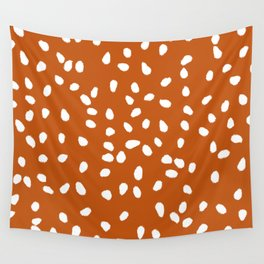 Tiny Leaf Pattern Rust Wall Tapestry
