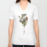 ballon V-neck T-shirts featuring The Great Balloon Adventure by Eric Fan