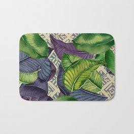 Banana Leaves on Mudcloth green,tan Bath Mat