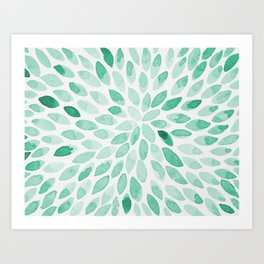 Watercolor brush strokes - aqua Art Print