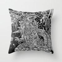 godzilla Throw Pillows featuring Godzilla by Walid Aziz