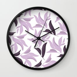 Abstract modern pastel lavender white leaves floral Wall Clock