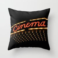 cinema Throw Pillows featuring Cinema by Kathleen Casey