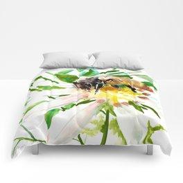 Bee and Flower, Honey Bee, chamomile herbal honey design Comforters