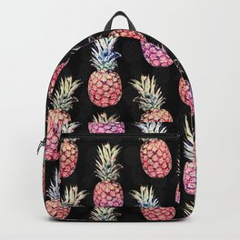 Pineapples and Foliage Black Illustration Backpack