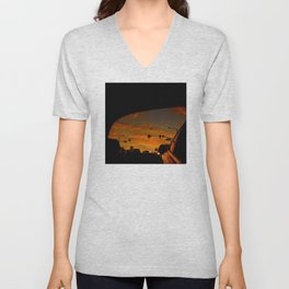 Fiery Red Sunset in Rearview Mirror Unisex V-Neck