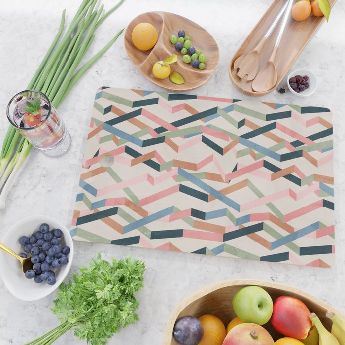 Straight Geometry Ribbons 1 Cutting Board