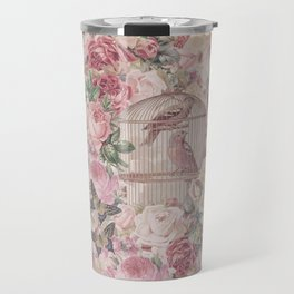 Romantic Flower Pattern And Birdcage Travel Mug