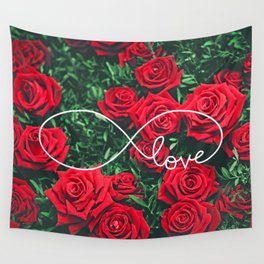 Red Roses Photography & Infinity Love Sign Wall Tapestry