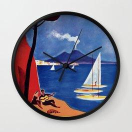 Napels Italy retro vintage travel ad Wall Clock