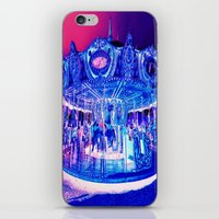 carousel iPhone & iPod Skins featuring Carousel Merry-G0-Round Pink Purple by Whimsy Romance & Fun