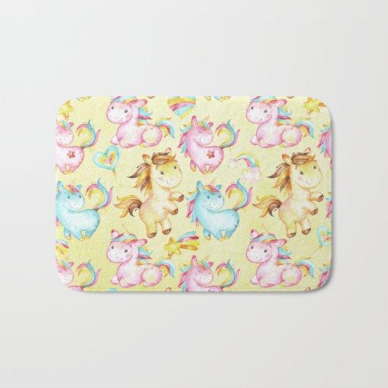 Unicorn Zoo- Cute pastel unicorn on yellow Bath Mat
