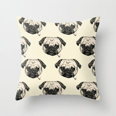 Smoking Pug Pattern Throw Pillow